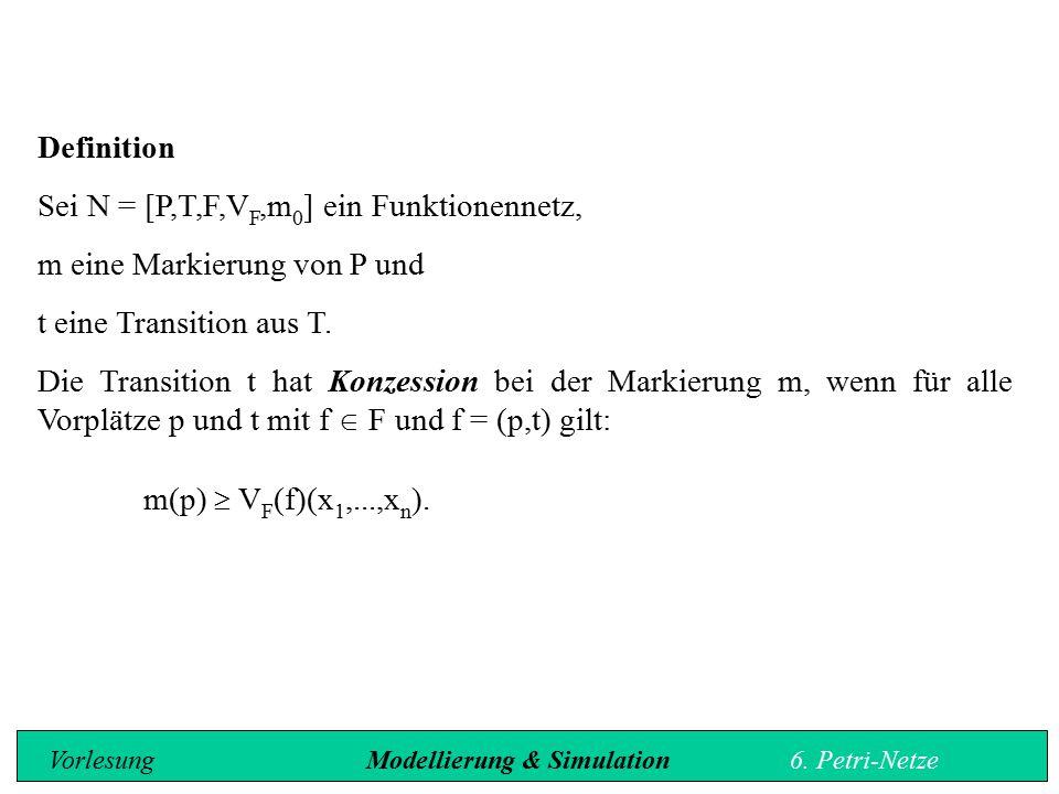 Sei N = [P,T,F,VF,m0] ein Funktionennetz, m eine Markierung von P und